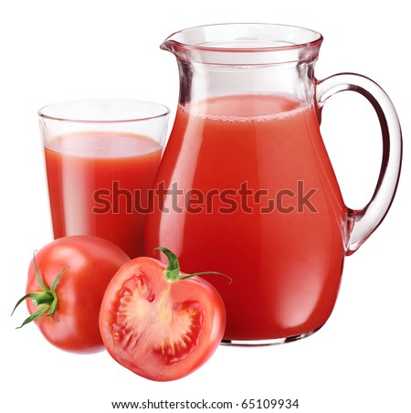 Full glass and carafe of tomato juice and. Isolated on a white. - stock photo