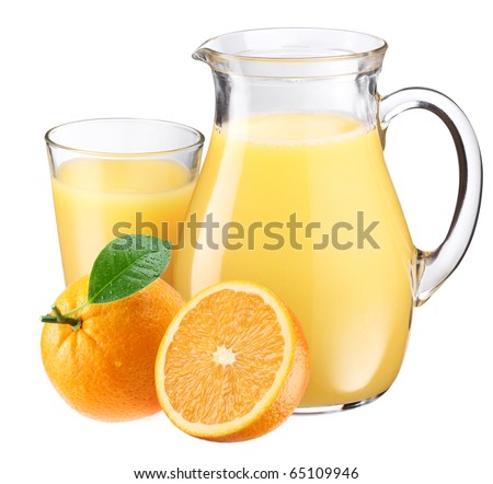 Full glass and jar of orange juice and fruits are near. Isolated on a white. - stock photo