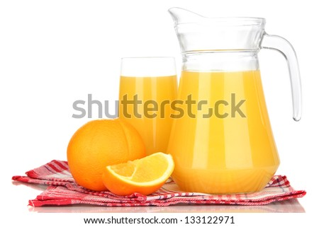 Full glass and jug of orange juice and oranges isolated on white - stock photo