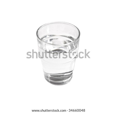 Full glass of clear still water (clipping path included) - stock photo