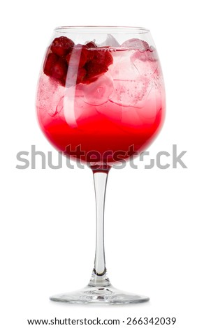 Full glass of fresh cool tonic with berries isolated on white background - stock photo
