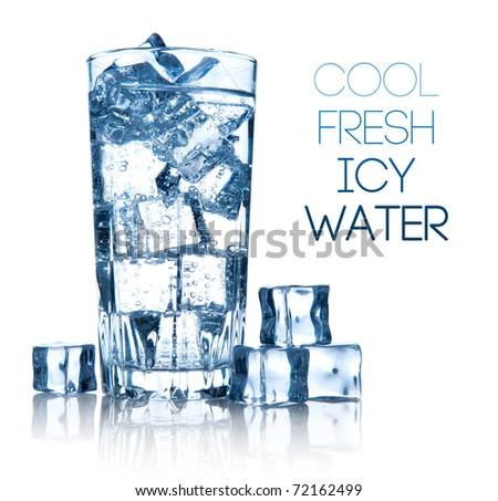 full glass of fresh cool transparent water with ice - stock photo