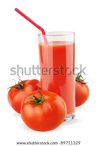 Full glass of fresh tomato juice and tomatoes isolated on white
