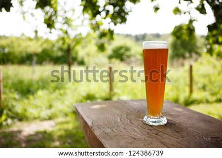 Full Glass of freshly tapped wheat beer serverd in an rustic beer garden in Germany - stock photo