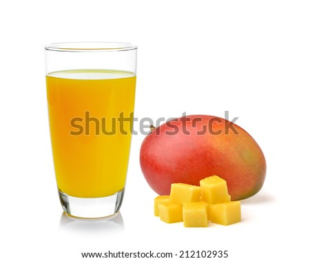 Full glass of Mango Juice and mango isolated on white background - stock photo