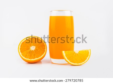 Full glass of orange juice and orange fruit on white background.