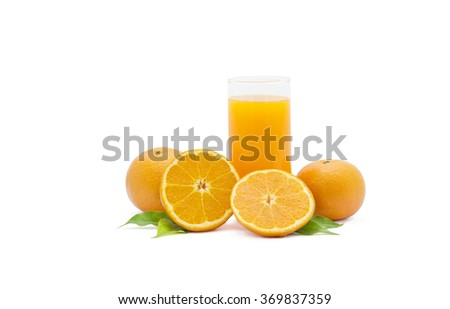 Full glass of orange juice Clipping Path  on white background