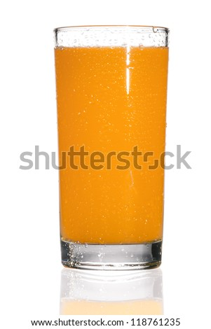 Full glass of orange juice on white background - stock photo