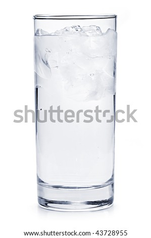 Full glass of water with ice isolated on white background - stock photo