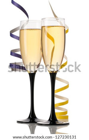 Full glasses of champagne isolated on white