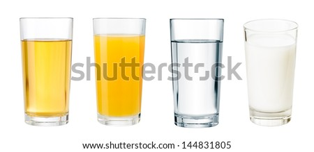 full glasses with different beverages isolated  set - stock photo