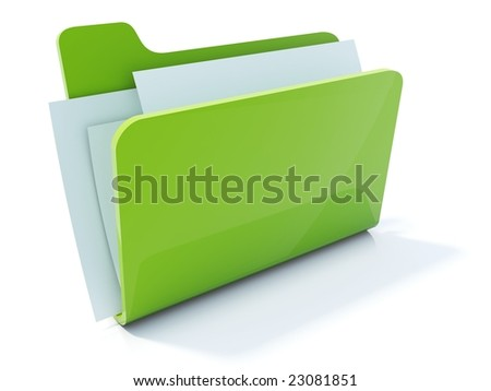 Full green folder icon isolated on white - stock photo