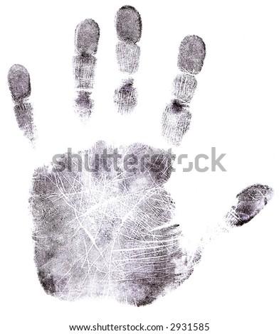 Full Hand black fingerprint - High Resolution monochrome image - stock photo