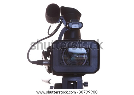 full HD camcorder isolated on white. front view - stock photo