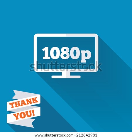 Full hd widescreen tv sign icon. 1080p symbol. White flat icon with long shadow. Paper ribbon label with Thank you text. - stock photo