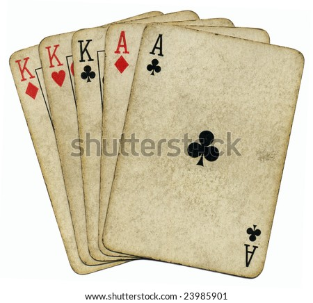 Full house aces and Kings vintage poker cards isolated over white. - stock photo