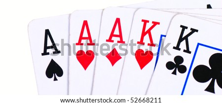 Full house of aces and kings isolated - stock photo