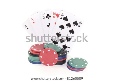 Full House with poker chips on a white background