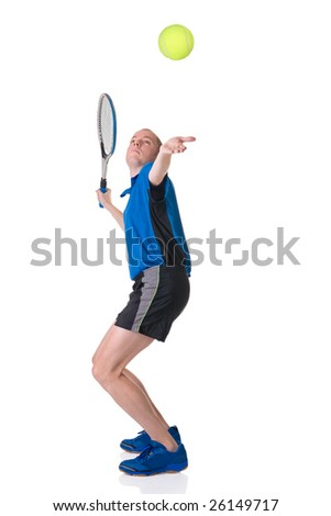 Full isolated picture of a caucasian man playing tennis