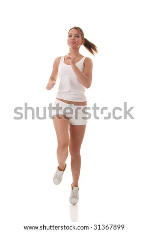 Full isolated picture of a slim and beauty caucasian running woman