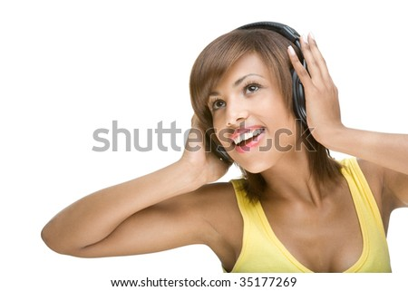 Full isolated portrait of a beautiful african woman listen to the music - stock photo