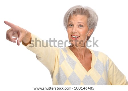 Full isolated portrait of a beautiful and happy senior woman