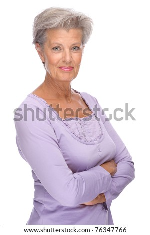 Full isolated portrait of a beautiful and happy senior woman - stock photo