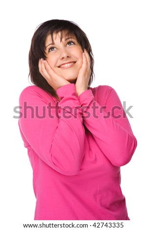 Full isolated portrait of a beautiful and happy woman - stock photo