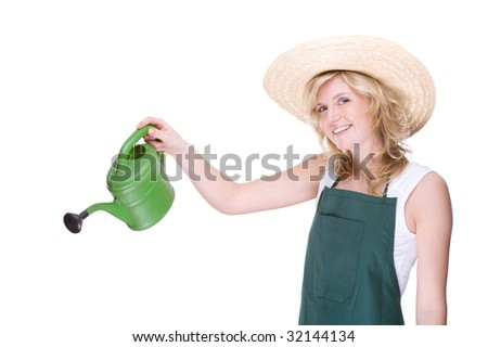 Full isolated portrait of a beautiful caucasian gardener with watering can - stock photo