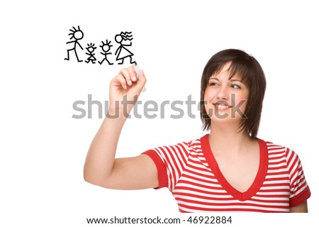 Full isolated portrait of a beautiful caucasian woman drawing a family picture - stock photo