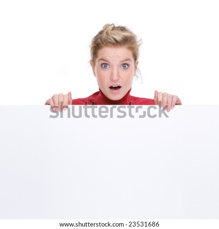 Full isolated portrait of a beautiful  caucasian woman with a blank sign - stock photo