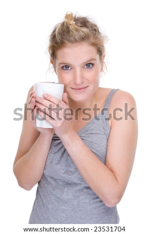 Full isolated portrait of a beautiful  caucasian woman with a cup of coffee - stock photo