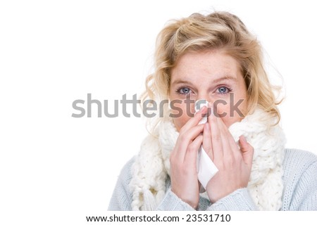 Full isolated portrait of a beautiful  caucasian woman with a handkerchief - stock photo