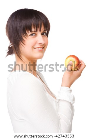 Full isolated portrait of a beautiful caucasian woman with apple - stock photo