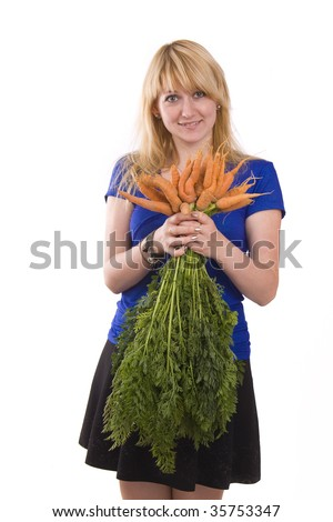 Full isolated portrait of a beautiful caucasian woman with carrot. Picture of a beautiful smiling girl holding bunch of carrots against background. Isolated over white background. - stock photo