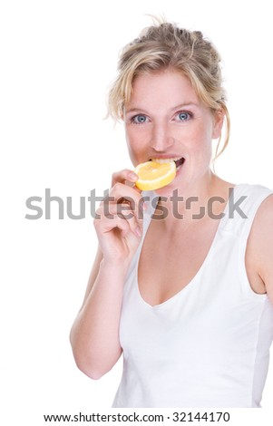 Full isolated portrait of a beautiful caucasian woman with lemon - stock photo