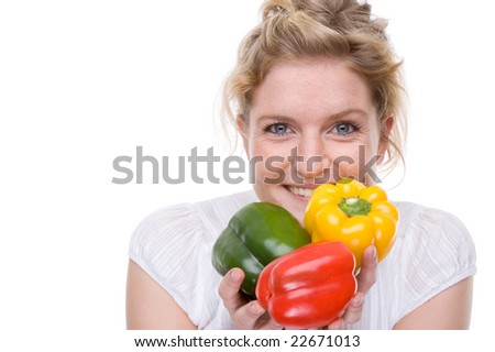 Full isolated portrait of a beautiful  caucasian woman with some paprika - stock photo