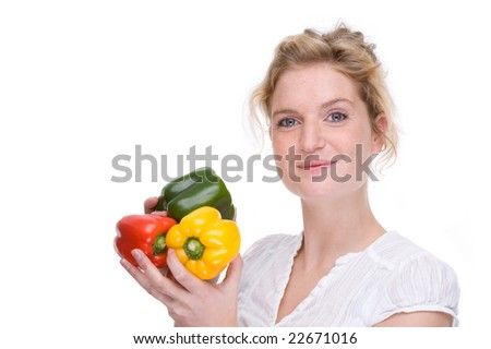 Full isolated portrait of a beautiful  caucasian woman with some paprika