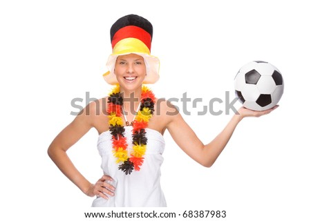 Full isolated portrait of a beautiful german soccer fan