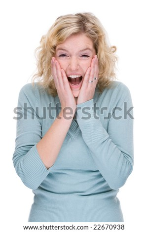 Full isolated portrait of a beautiful smiling caucasian woman - stock photo