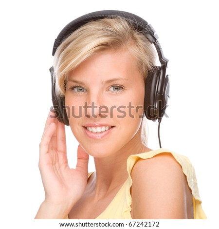 Full isolated portrait of a beautiful woman listen to the music - stock photo