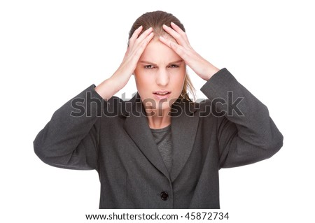 Full isolated portrait of a caucasian businesswoman with headache