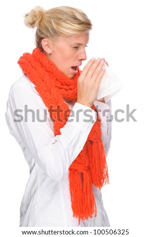 Full isolated portrait of a caucasian woman with handkerchief - stock photo