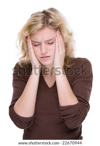 Full isolated portrait of a caucasian woman with headache