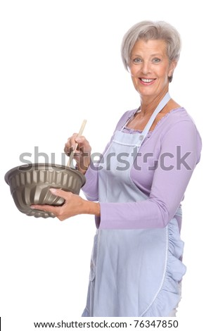 Full isolated portrait of a senior housewife