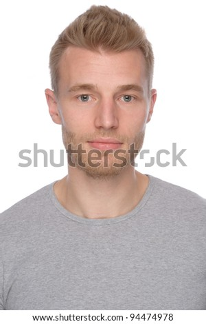 Full isolated portrait of a  smiling young man - stock photo