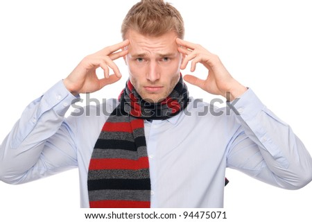 Full isolated portrait of a  young man with head ache - stock photo