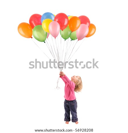 Full isolated studio picture from a little girl with balloons - stock photo