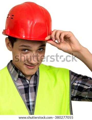 Full isolated studio picture from a young construction worker in high visibility vest and protective helmet - stock photo