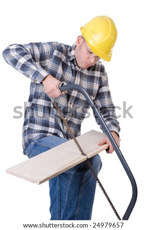 Full isolated studio picture  from a young craftsman with a saw - stock photo